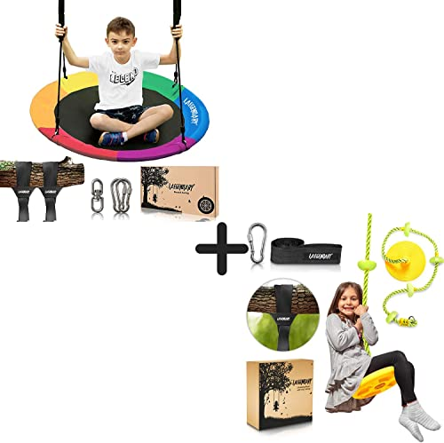 high quality 40 Inch Flying Saucer Tree Swing Climbing Rope and Tree Swing with Platforms Disc Swings online Seat for Kids - Round Indoor Outdoor Swingset Toys - Playground Accessories - Yard Swings outlet sale Set Outside Toys outlet online sale