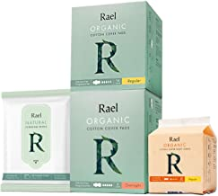 Rael Organic Pads Value Packs-Organic Cotton Regular Pads, Overnight Pads, Regular Liners and Natural Feminine Wipes by Rael (Overnight Set)
