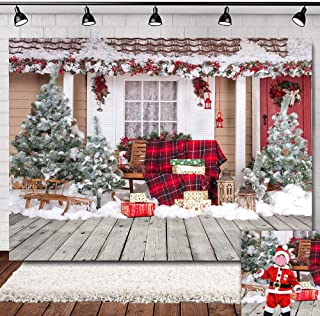 9x6ft Outdoor Wooden Floor Snow Photography Backdrop Vinyl Winter Christmas Party Supplies Photo Booths Family Portraits Photo Background New Year Decorations Photo Shoot