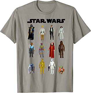 Star Wars Main Character Action Figure Stack Graphic T-Shirt