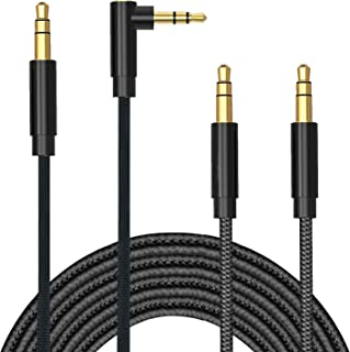 TERSELY 3.5mm Gold-Plated Auxiliary Audio Cable Aux Cord, [2 PACK] 1M/3FT 90 Degree Right Angle + Straight Nylon Braided M...