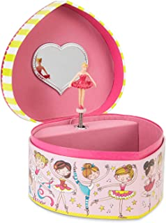 JewelKeeper Heart Shaped Musical Jewelry Box Ballerina and Friends