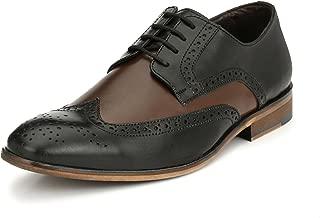 San Frissco Men's Black Leather Brogue Shoes - 8 UK
