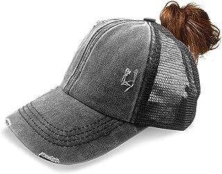 Womens Criss Cross Ponytail Hat Messy Bun Baseball Cap Distressed Washed Ponycap
