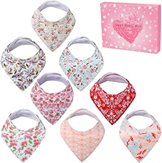 Nasjac Baby Bandana Drool Bibs, 8 Pack Unisex Organic Cotton Soft Absorbent Baby Drooling Bibs Set, Adjustable Snaps for Newborn Toddlers Teething Weaning Feeding, Funny Baby Shower Gift