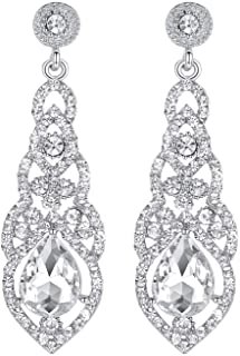 mecresh Teardrop Crystal Chandelier Dangle Earrings for Women in Silver Gold Black Champagne Red