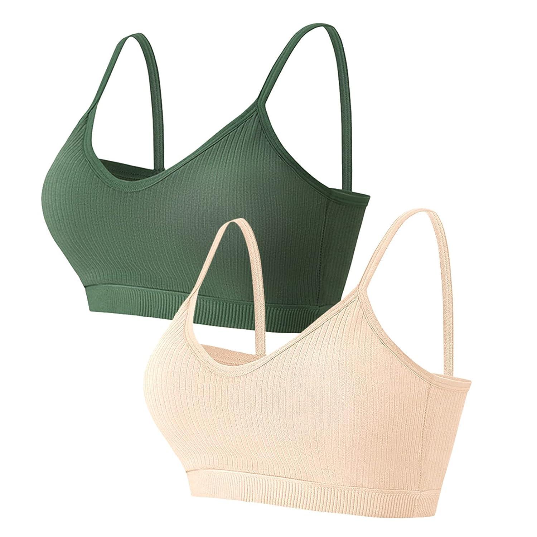 Padaleks Women's Full Figure Beauty Back Comfy Bra Wirefree Bras Strappy Padded Low Impact Workout Underwear Tops