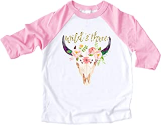 3rd Birthday Outfit for Girls Wild & Three Bull Skull Perfect for Toddler Girls