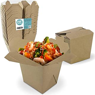 """[50 Pack] 26 oz Chinese Take Out Boxes - 4x3.75"""" Plain Kraft Paperboard Food Containers, Leak and Grease Resistant Asian Rectangle to Go Boxes, Candy Buffet Box and Party Favors"""