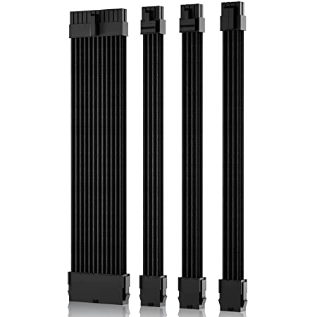 6+2 Asiahorse Power Supply Sleeved Cable for Power Supply Extension Cable Wire Kit 1x24-PIN// 2x8-PORT PCI-E 30cm Length with Combs M//B,3x8-PORT 4+4 Dual EPS Black