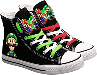 N-Brand Cute Super Mario Print Sneakers, Ladies and Men Canvas Shoes, Cartoon Casual Shoes, Teen Boys and Girls Sneakers, ...