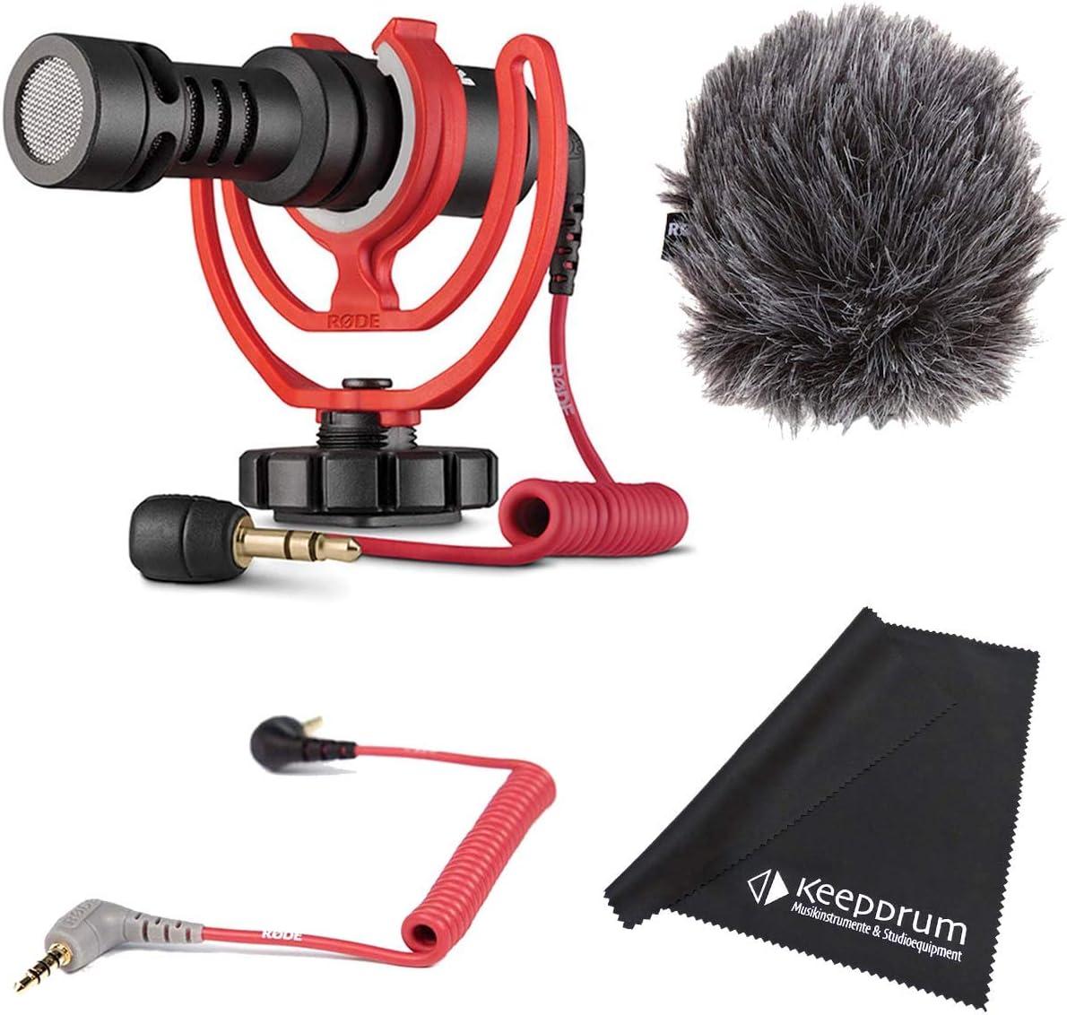 Rode Videomicro - Juego de micrófono de cámara de condensador + cable de conexión SC7 TRS de 3,5 mm – TRRS + paño de microfibra keepdrum