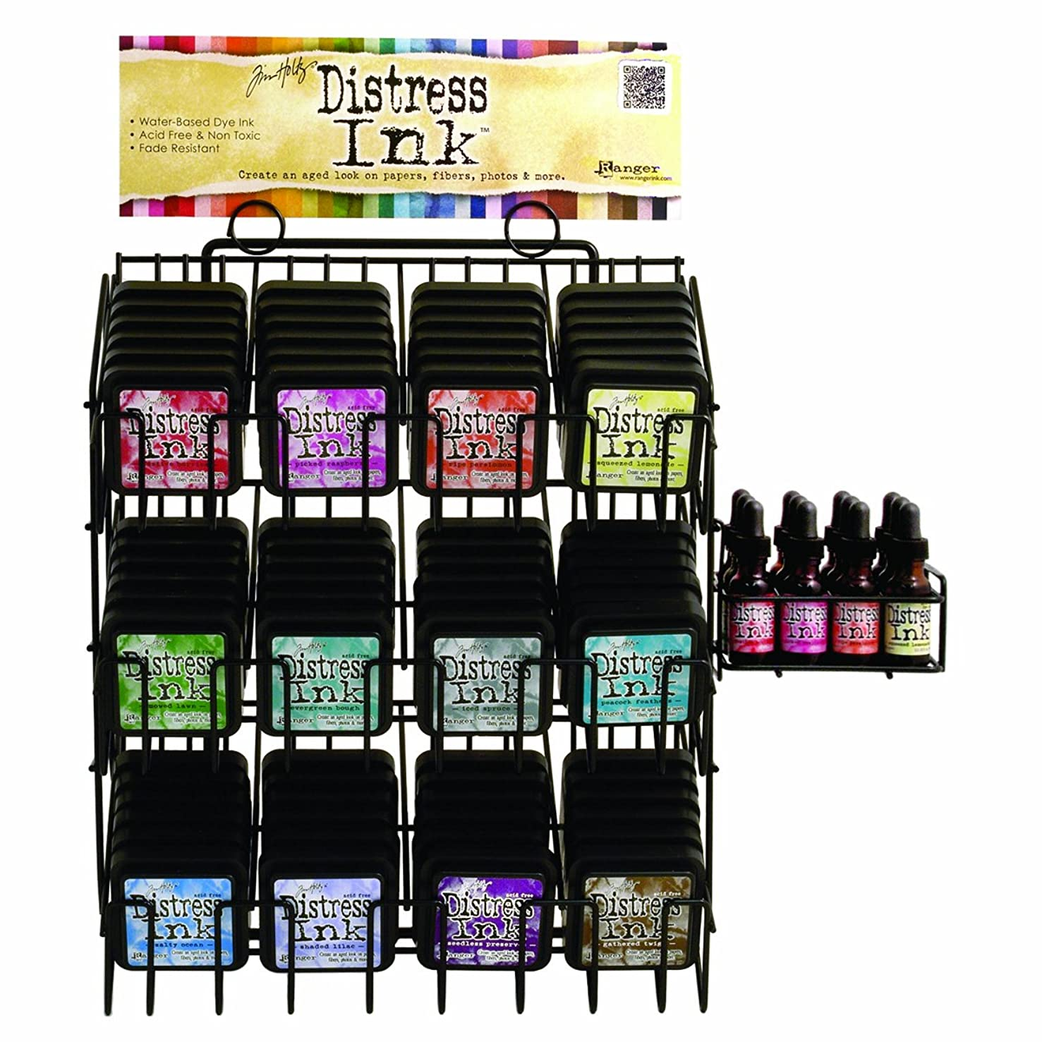 Ranger Distress Ink Assortment with Wire Rack and Sign