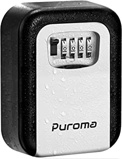 Puroma Key Lock Box, 4-Digit Combination Wall Mount Storage Lockbox 5 Key Large Capacity for House Key, Special Car Key, ID Card (Black & Silver)