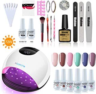 Vishine LED UV Gel Nail Lamp Set - 72W Gel Nail Dryer - Professional Curing Light 6 Color Gel Polish Base Top Coat with Full Manicure tools Deluxe Starter Kit #02