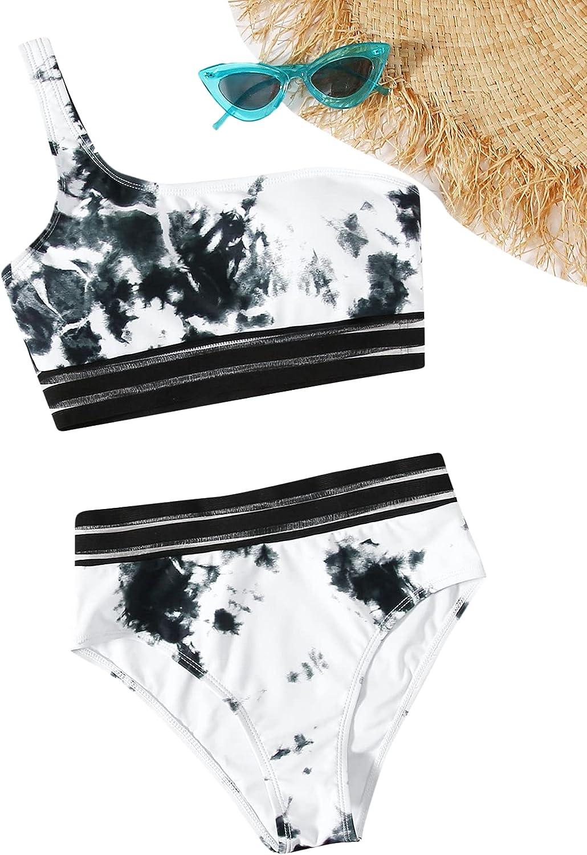Romwe Women's Boho Tropical Print Tape One Shoulder 2 Piece Bikini Swimsuit