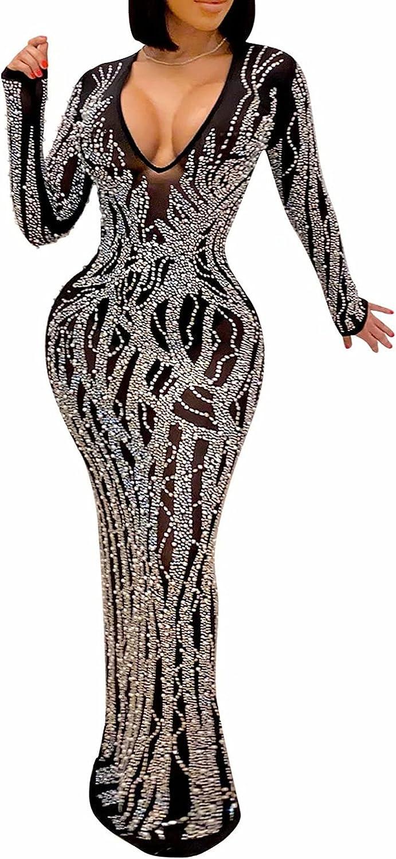 Aro Lora Womens Sexy Glitter Rhinestones See Through Sheer Mesh Club Bodycon Maxi Dress