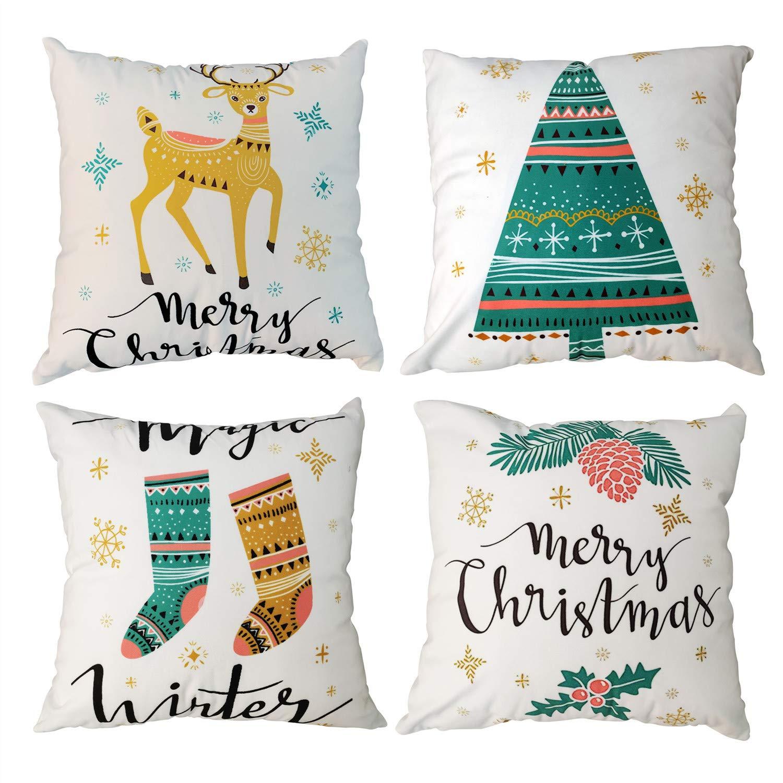 Gspirit 4 Pack Feliz Navidad Árbol Ciervo Invierno Algodón Lino ...