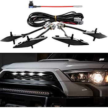 Seven Sparta 4 PCS Led White Lights with Fuse and Instruction for 2014-2019 Toyota 4Runner TRD Pro Grille (Black Shell)