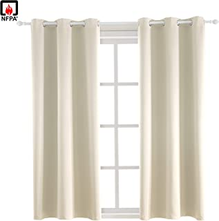 BEGOODTEX Flame Resistant Curtain Fire Retardant Blackout Curtains, Light Beige, 42W by 63L inch, 1 Panel