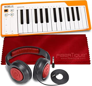 Arturia MicroLab Compact 25-Key USB-MIDI Controller (Orange) + SR360 Over-Ear Dynamic Stereo Headphones & Fibertique Micro...