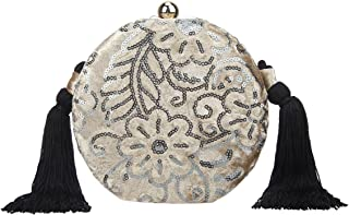 Fawziya Sequin Embroidery Clutch Purses For Women Velvet Tassel Handbags