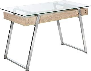 HOMCOM Bureau d'Ordinateur Table Informatique avec Plateau Verre Trempé Étagère de Rangement Support en Métal 120 x 60 x 7...
