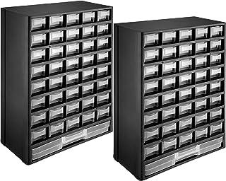 tectake 403515 – 2x Boîte à Outils de Rangement avec 41 Tiroirs, Armoire à Outils en Plastique, Armoire de Rangement, noir