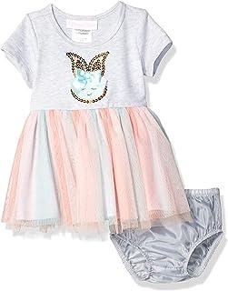 Bonnie Baby Baby-Girls R07400-PS Sequin Bunny Tie Dye Tutu Dress Short Sleeve Dress - Gray