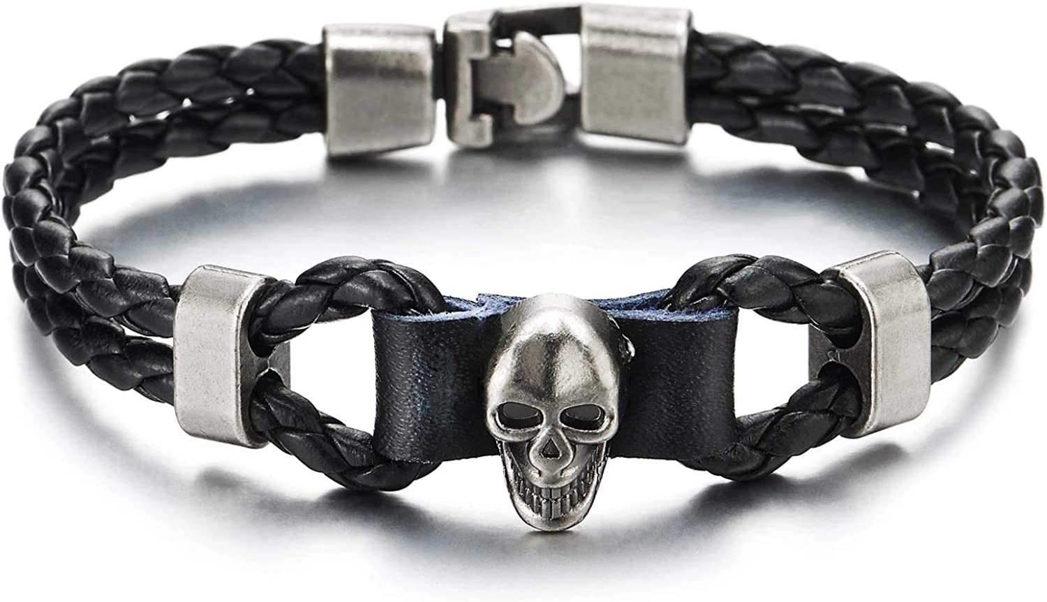 COOLSTEELANDBEYOND Mens Women Two-Row Black Braided Leather Knot Wristband Bangle Bracelet with Grey Skull Charm