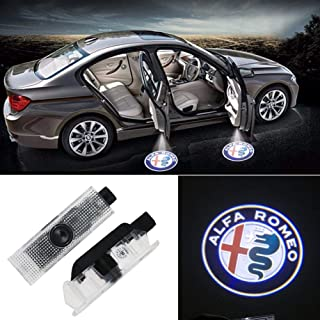 Car Door Lights LED Logo for Alfa Romeo Accessory,Ghost Shadow Auto Emblem Courtesy Step Lights for Giulietta/Mito/Stelvio/Giul Series, Entry Welcome Lights Courtesy Lights Ground Lamps Kit(2 Pack)