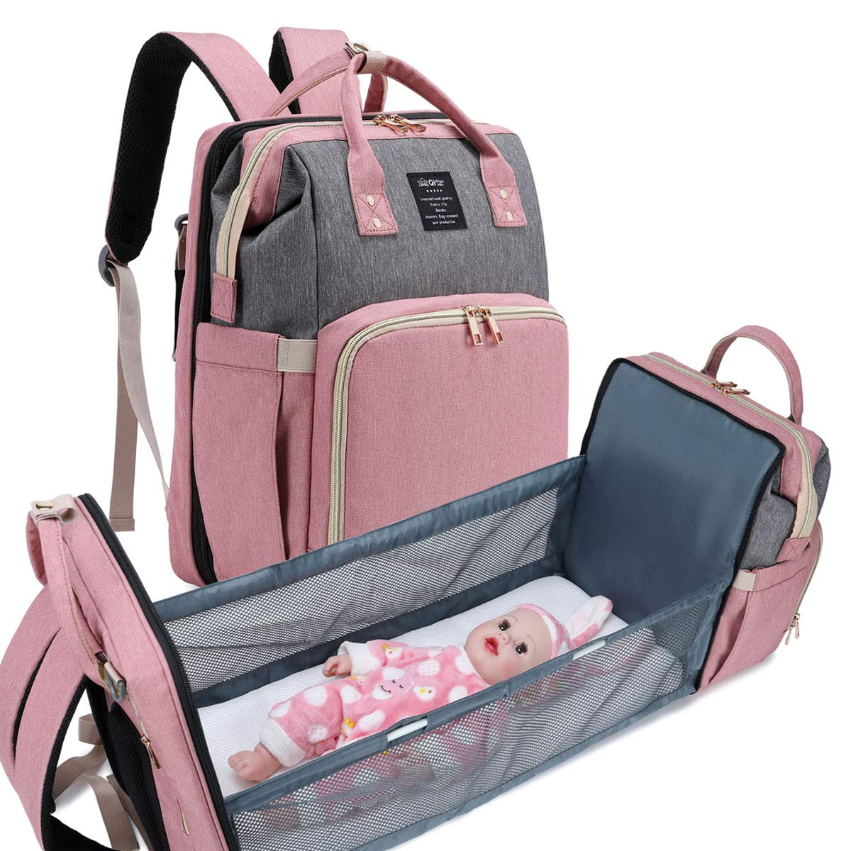 QIMIAOBABY Multifunction Travel Mummy Bag, Diaper Bag, Portable Travel Bed (Pink with Gray)