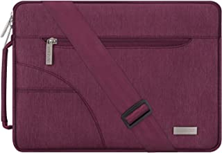 MOSISO Laptop Shoulder Bag Compatible with 15 inch MacBook Pro Touch Bar A1990 A1707 2019 2018 2017 2016, 14 inch ThinkPad Chromebook, Polyester Briefcase Sleeve Case with Side Handle, Wine Red
