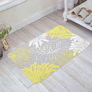Dahlia Print Doormat Yellow Grey Welcome Mat Front Doormat Rubber Non Slip Backing Funny Doormat Indoor Outdoor Rug 18x30in