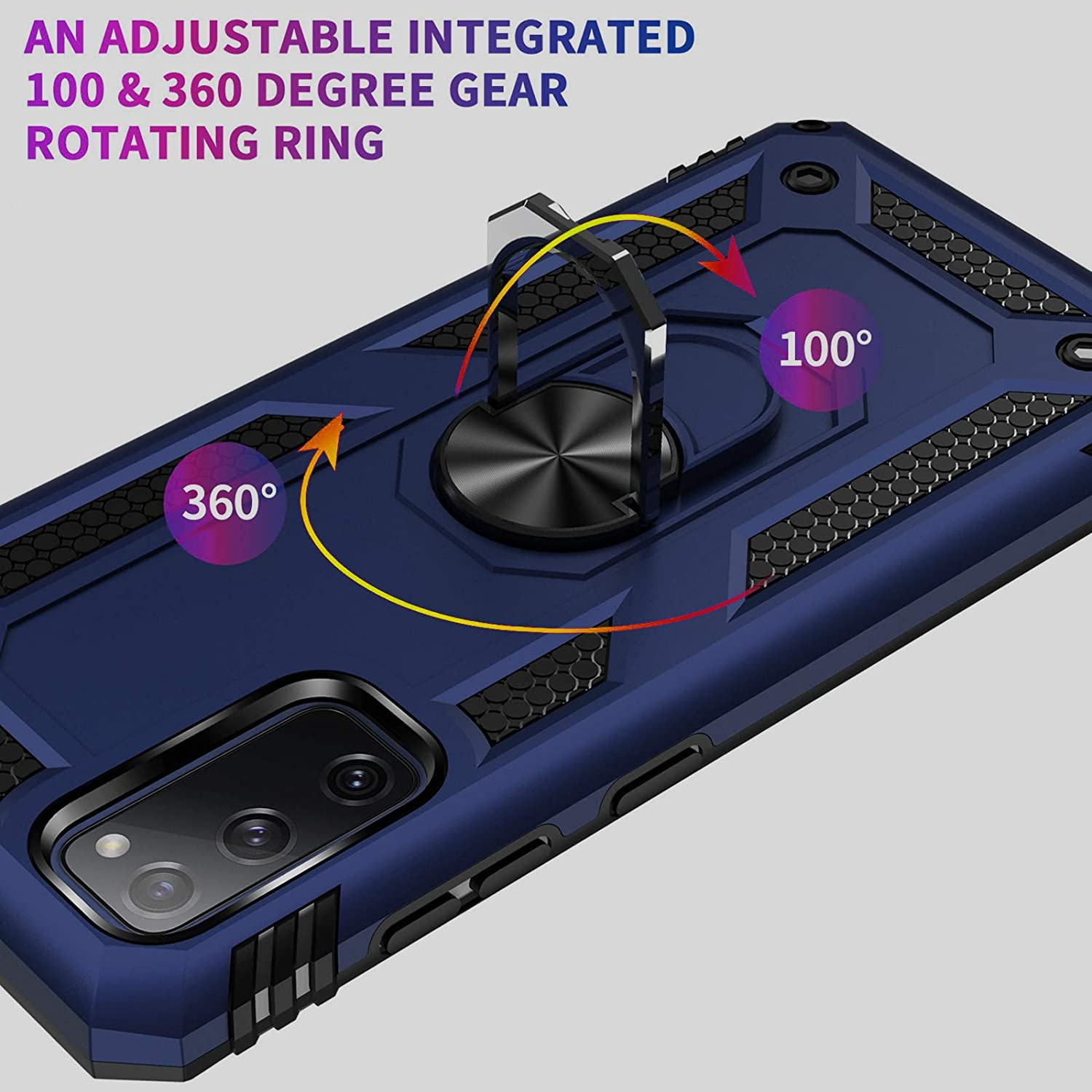 Armor Case Compatible with Samsung Galaxy S20 Fe 5G Case with 360 Degree Ring Holder Stand Mobile Phone Case PC Silicone Protective Case Shockproof Bumper for Samsung S20 Fe 5G Rugged Case