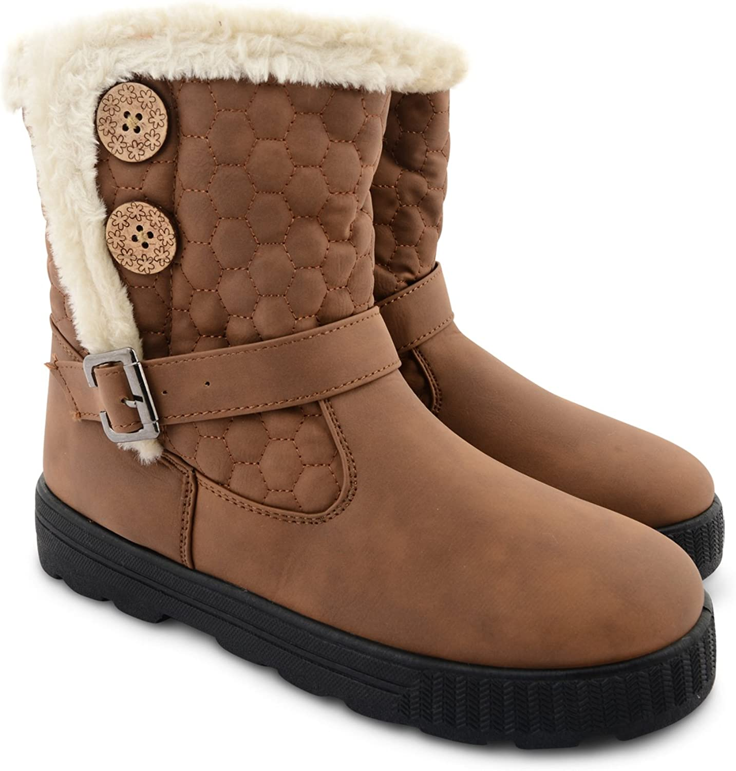 Womens ladies flat chunky cosy fur lined quilted buckle strap calf boots size