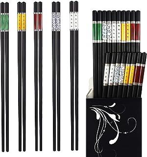 Annvchi EssStäbchen 10 Paar - Japanische Chopsticks Schwarz