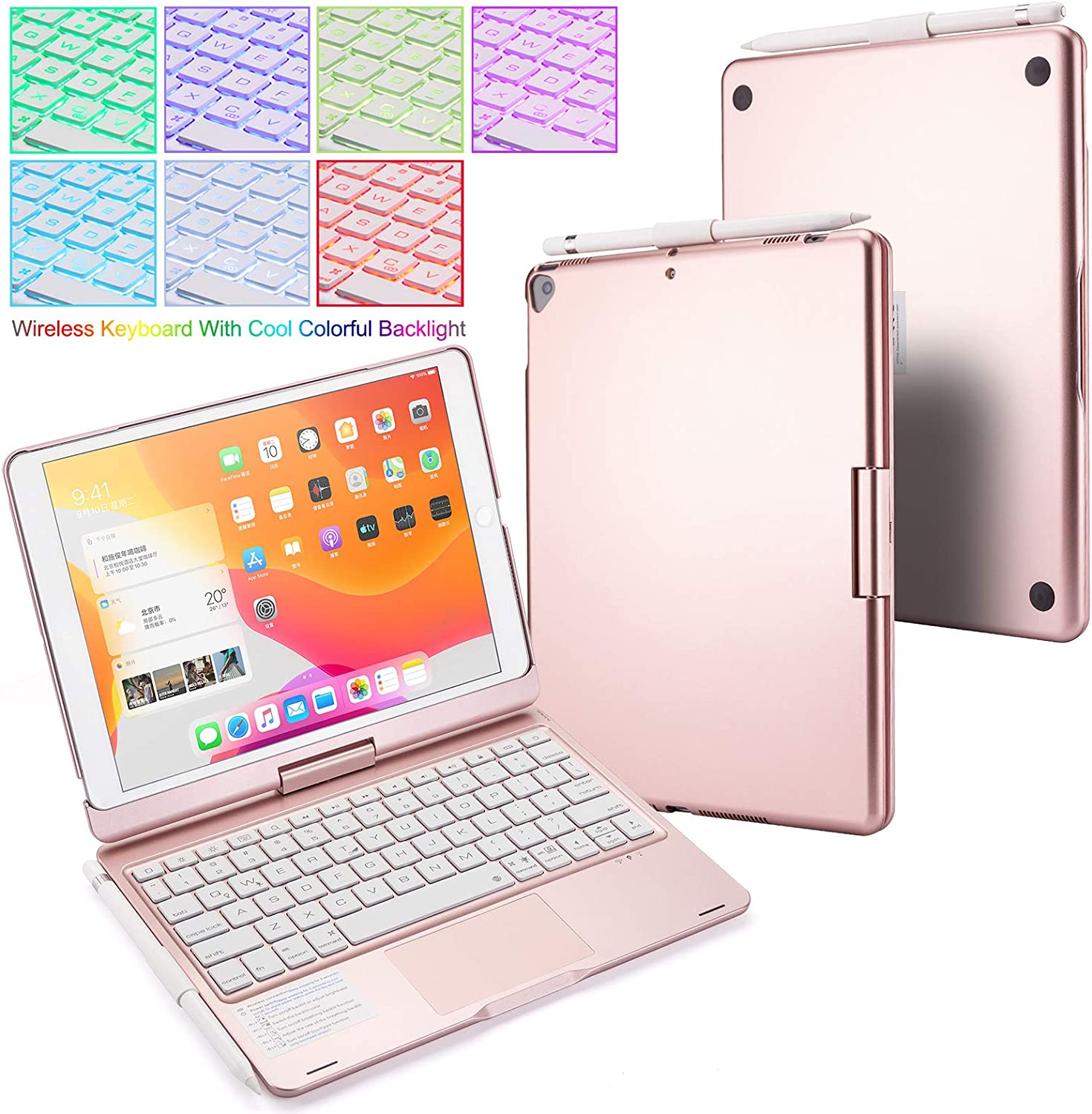 Huafly iPad Keyboard Case for 2020 iPad 10.2 (8th Gen), 2019 iPad Air 10.5, Backlit Keyboard with Touchpad, Wireless Bluetooth 360 Rotatable Case for 10.2/10.5 inch Tablet (Rose)