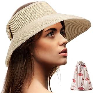 أقنعة الشمس القابلة للطي للنساء - قبعة الشاطئ واسعة حافة قبعة الشمس تطوف قبعة القش