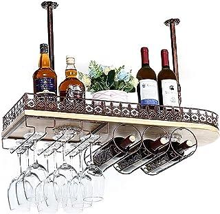 XHCP Rangement de Cuisine Organisation Plafond Suspendu Casier à Vin en Bois Massif De Luxe en Verre À Vin en Métal Etagèr...