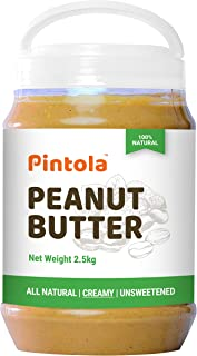 Pintola All Natural Peanut Butter (Creamy) (2.5kg) | Unsweetened | 30g Protein | Non GMO | Gluten Free | Cholesterol Free