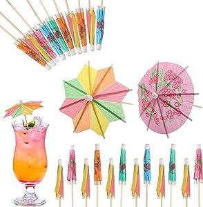 SAVITA 100pcs Tropical Cocktail Umbrellas Decoration Paper Parasol Picks Includes 50pcs Round Umbrellas & 50pcs Octagon Umbrellas for Drinks Fruit Juice Cupcake Tea Summer Party Decoration