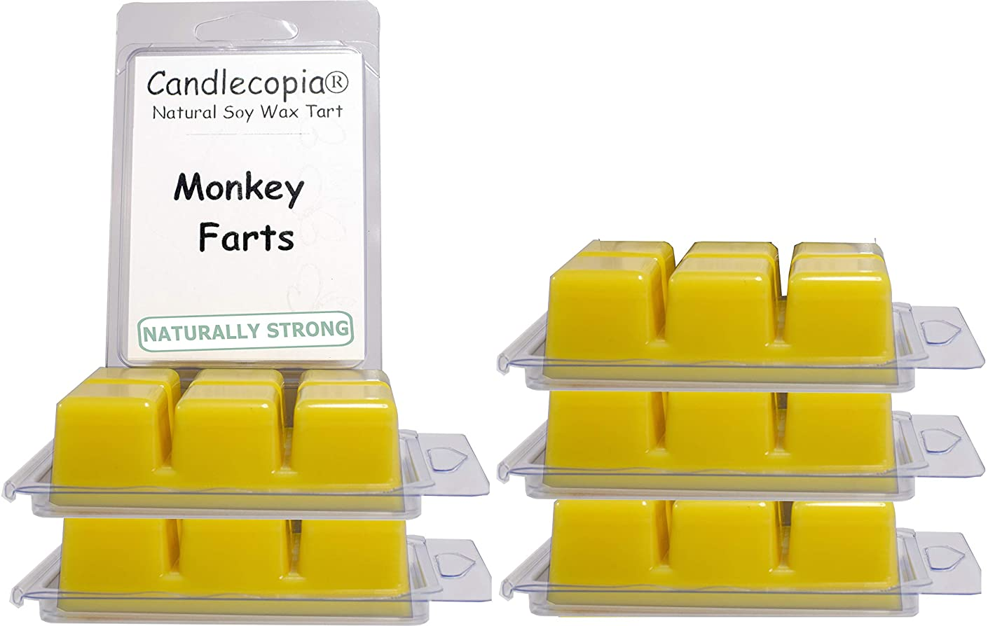 Candlecopia Monkey Farts Strongly Scented Hand Poured Vegan Wax Melts, 36 Scented Wax Cubes, 19.2 Ounces in 6 x 6-Packs