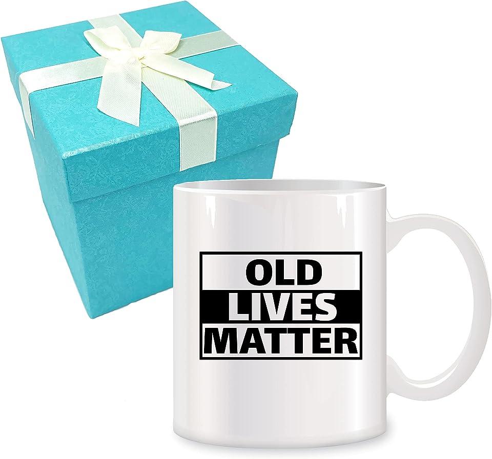 Old Lives Matter Ceramic Coffee Mugs for Men Women 11 oz - 50th 60th 70th Birthday Gift, Birthday Gifts for Dad, Mom, Grandad, Grandma