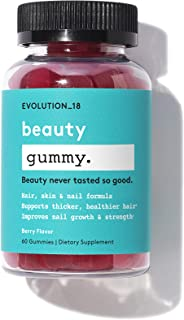 Evolution_18 Beauty Gummy | Vegan Biotin Supplements | for Healthy Skin, Nails & Hair Growth | Natural Berry Flavor | 60 G...