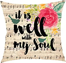 Nordic Retro Wooden Ink flower Saying Sheet Music note It is well with my soul Cotton Linen Square Throw Waist Pillow Case Decorative Cushion Cover Pillowcase Sofa 18