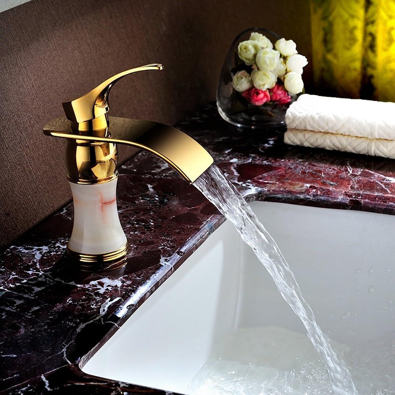 WYRSXPY Waschtischarmatur Beckenhahn, Natürliche Jade Messingbeschlge, Europischer Stil Golden Desktop Wasserfall Hauptküche Badezimmer Wasserhahn (Farbe   Gold)