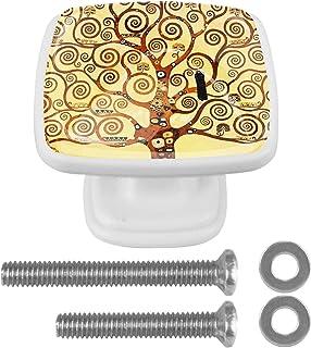 Paquet de 4 boutons d'armoire de cuisine, boutons pour tiroirs de commode Art arbre coloré de vie Tire les poignées de porte