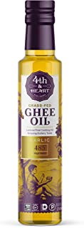 Garlic Grass-Fed Pourable Ghee Oil by 4th & Heart, High Heat, Non-GMO Verified Hybrid Oil, Certified Paleo and Keto, Lactose Free, 8.5 ounce
