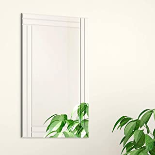 Everly Hart Collection 24x36 Frameless Stepped Beveled Edge Wall Mounted Mirror